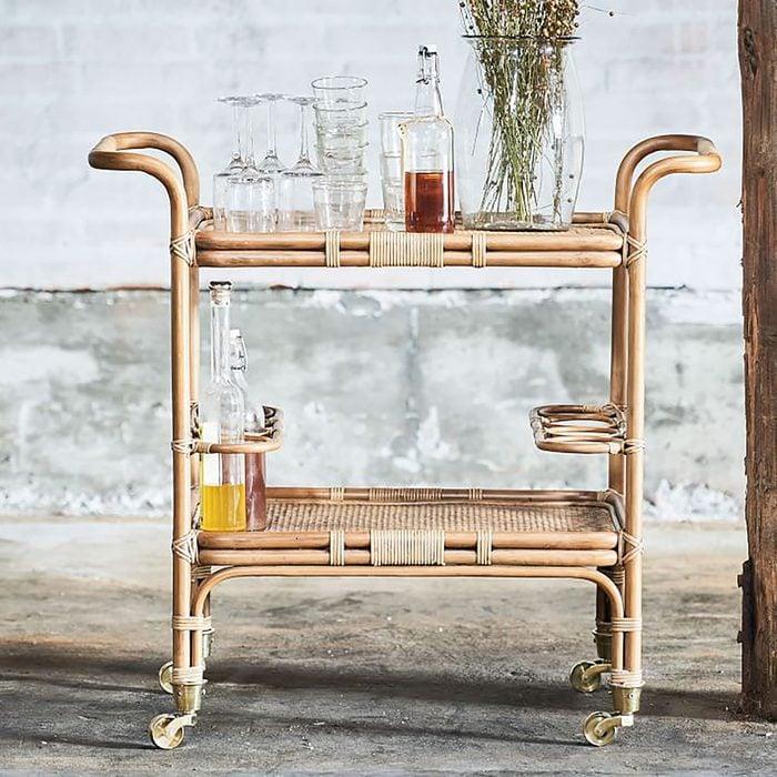 West Elm Rattan Bar Cart