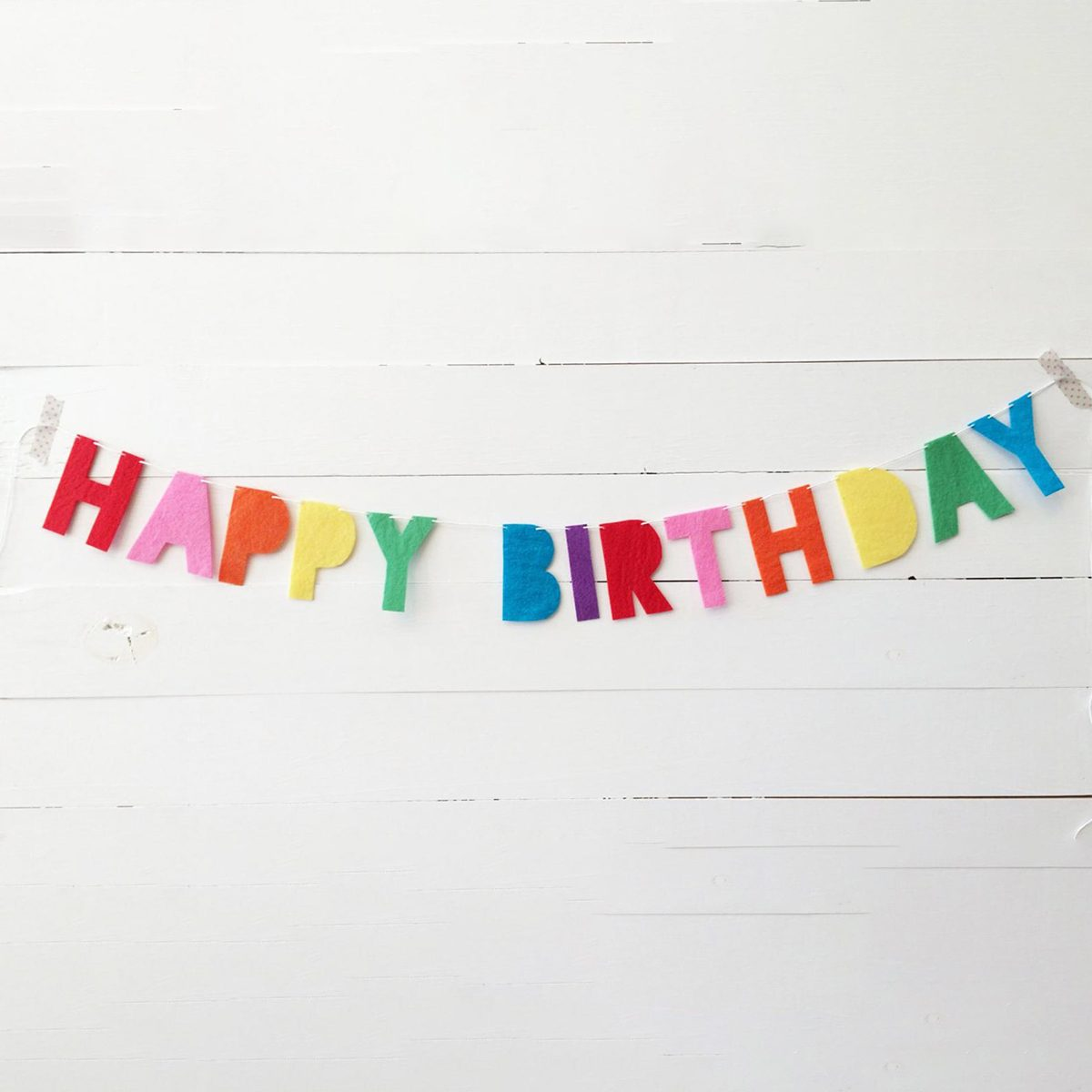 Happy Birthday rainbow felt banner {stiffened felt}