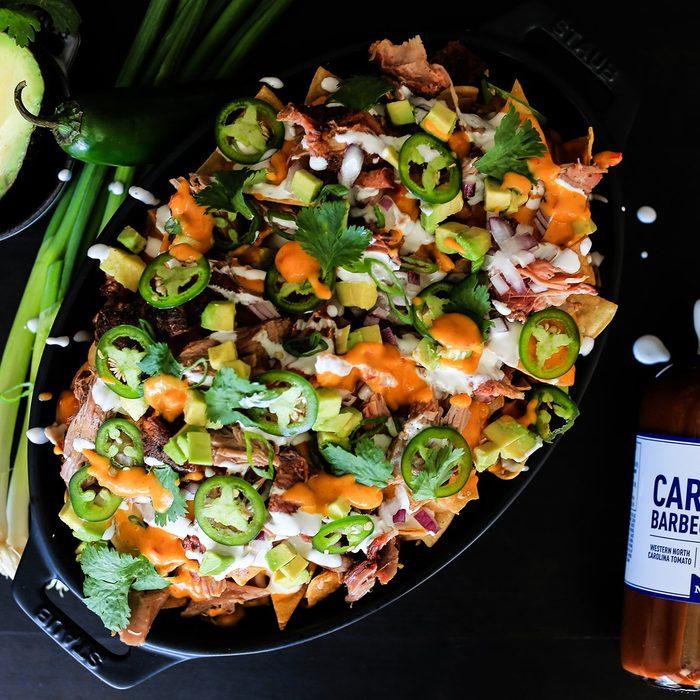 Smoked Carolina Pulled Pork (on pulled pork nachos with pimento cheese sauce)