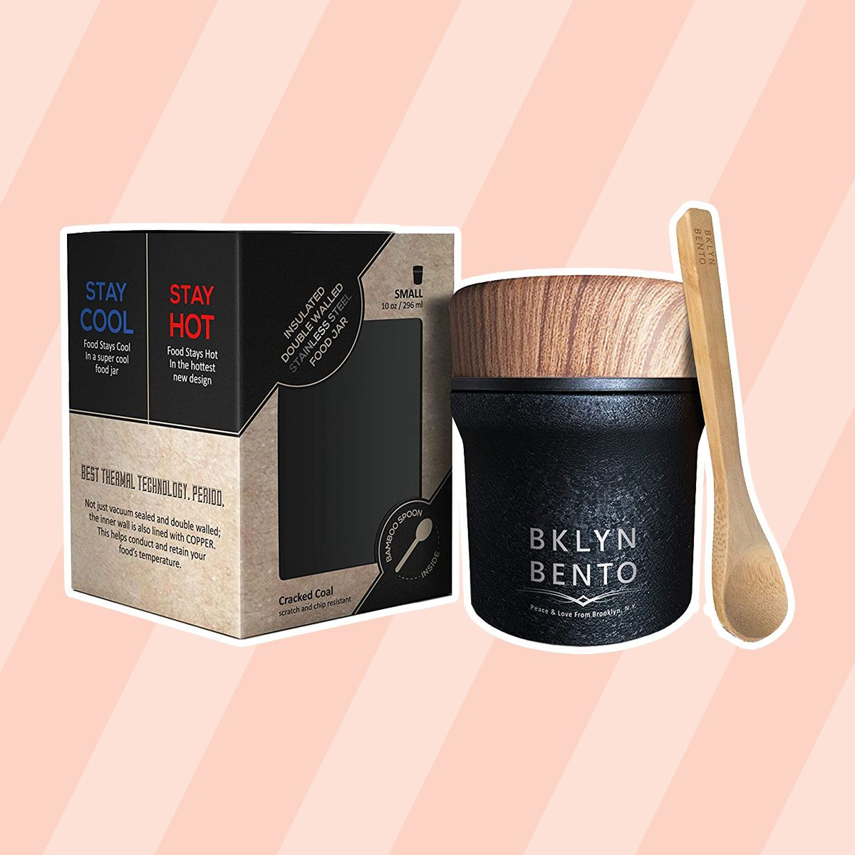 Thermos Food Jar For Hot Food & Soup with Bamboo Spoon.