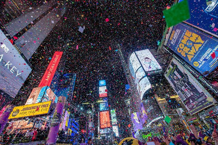 NEW YORK, NEW YORK - DECEMBER 31: The ball drops during the 2020 New Year Celebration on December 31, 2019 in New York City. (Photo by Roy Rochlin/Getty Images)