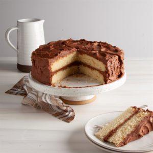 Layered Yellow Cake with Chocolate Buttercream