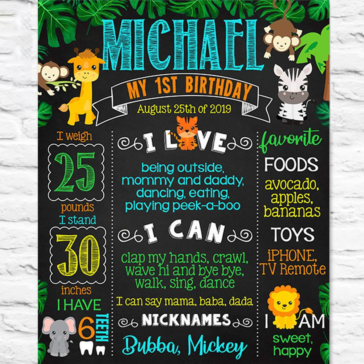 Jungle zoo Safari animals First Birthday chalkboard sign - 1st party chalk board poster banner milestone template supplies favors (721)