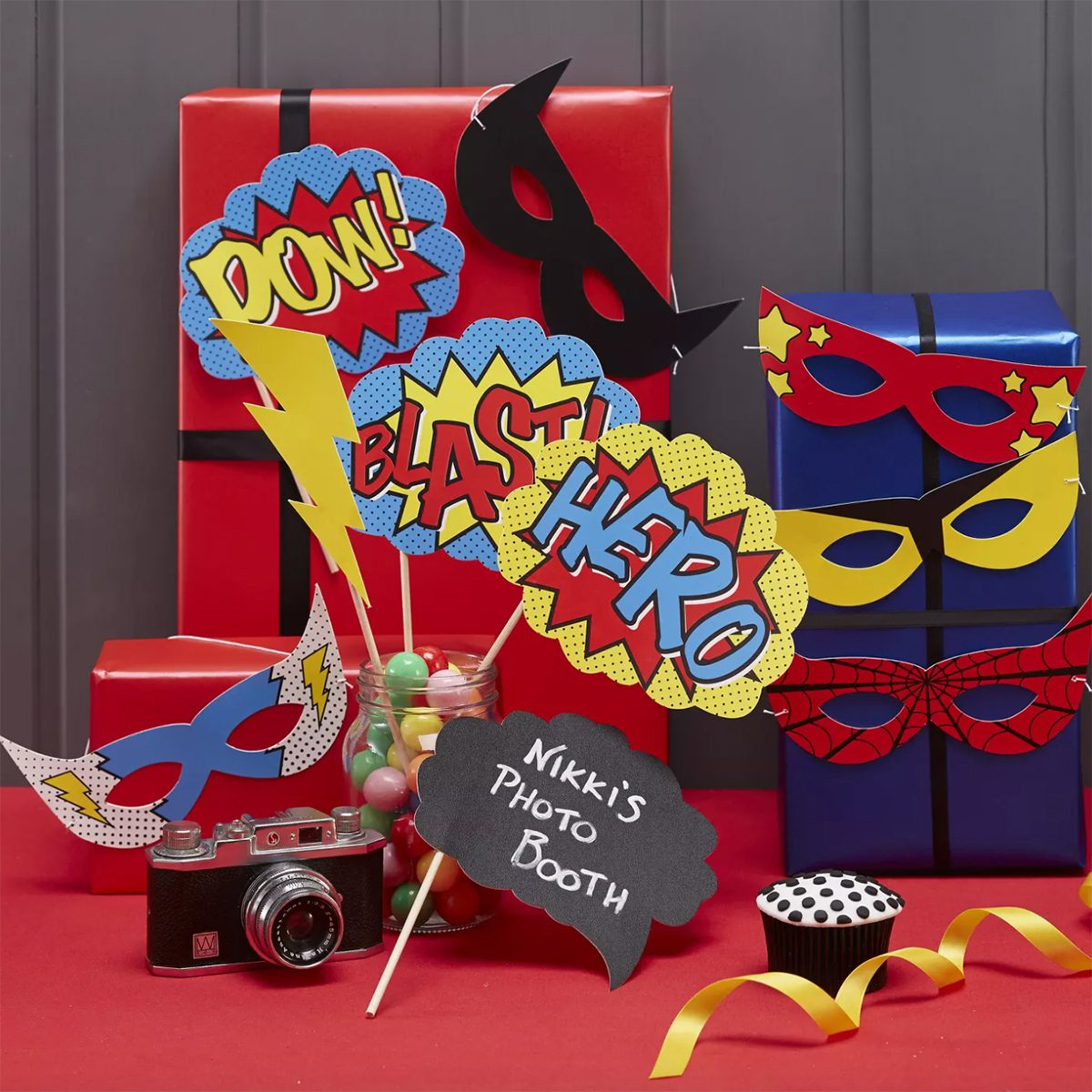 10ct Comic Superhero Photo Booth Props