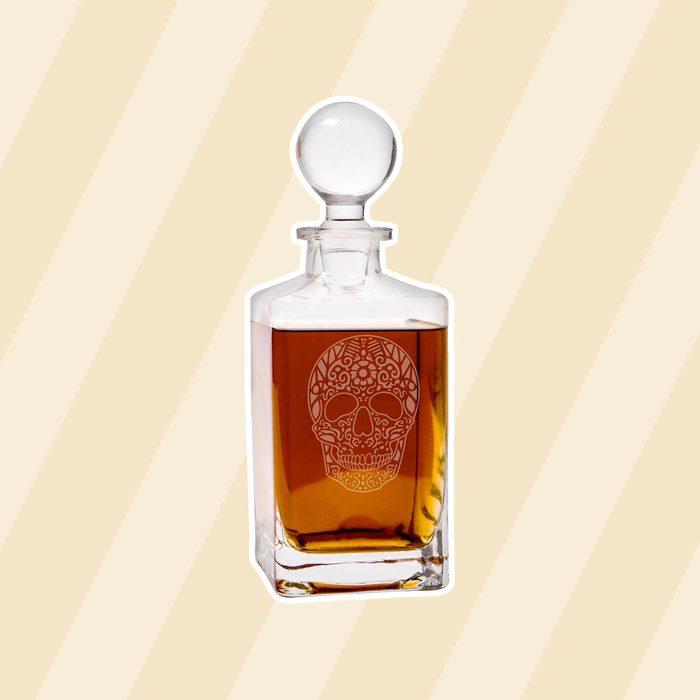 10 in. Sugar Skull 32 oz. Halloween Square Whiskey Decanter
