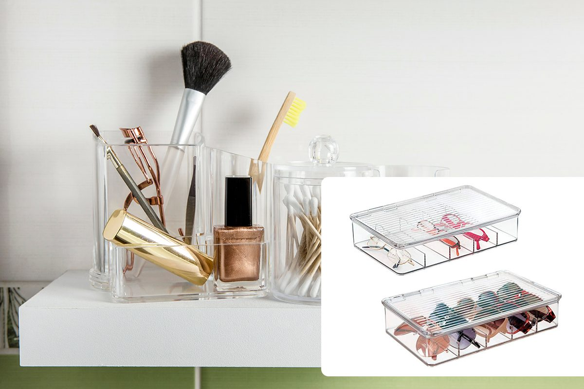 Make up products organizing in bathroom concept. Beauty products in organizer container box on tidy way on minimalist shelf. Cotton pads stacked, Q-tips and make up brushes./mDesign Plastic Rectangular Stackable Eye Glass Storage Organizer Holder Box for Sunglasses, Reading Glasses, Fashion Eye Wear, Accessories - 5 Sections, Hinged Lid - 2 Pack - Clear