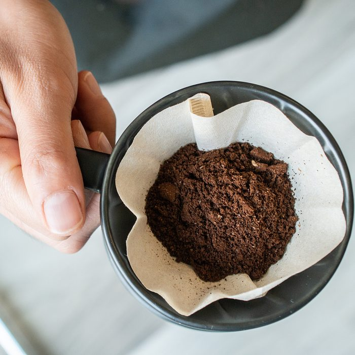 Conceptual of how to making drip coffee by herself.