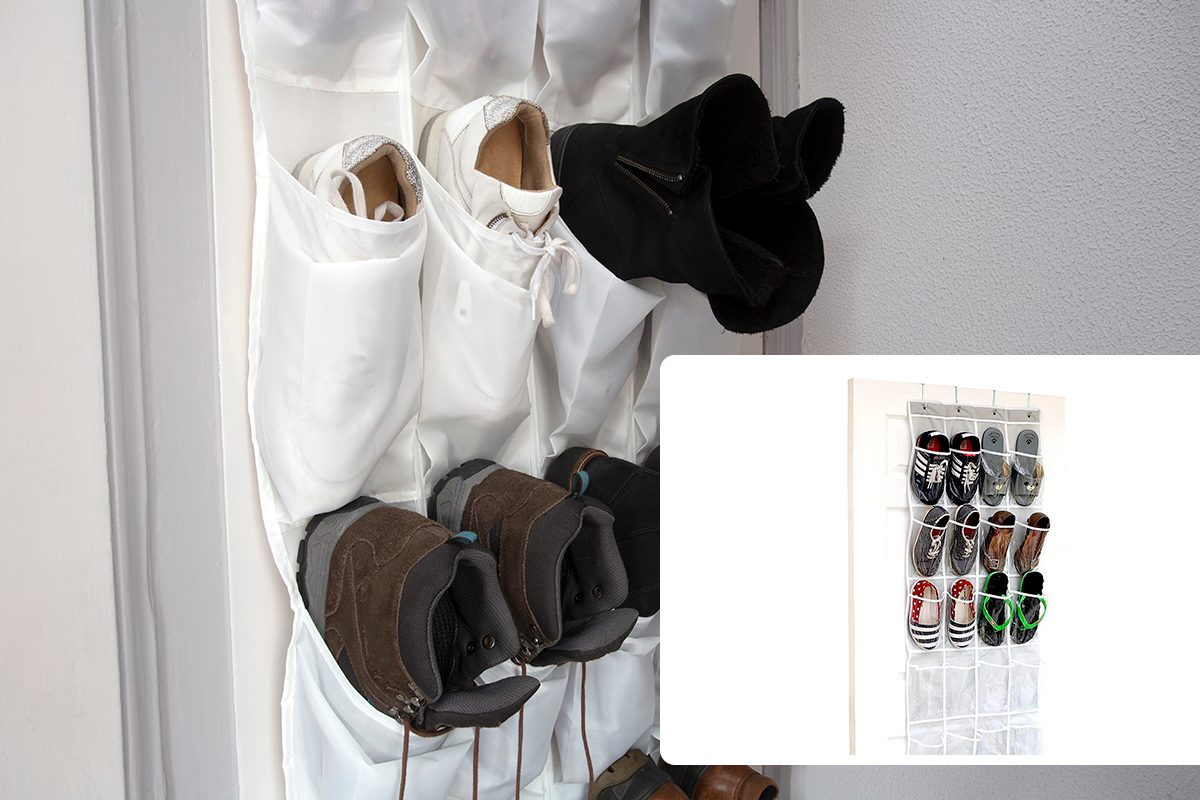 Shoe rack hanging on a wooden door, storage for shoes close-up/24 Pockets - SimpleHouseware Crystal Clear Over The Door Hanging Shoe Organizer, Gray (64'' x 19'')