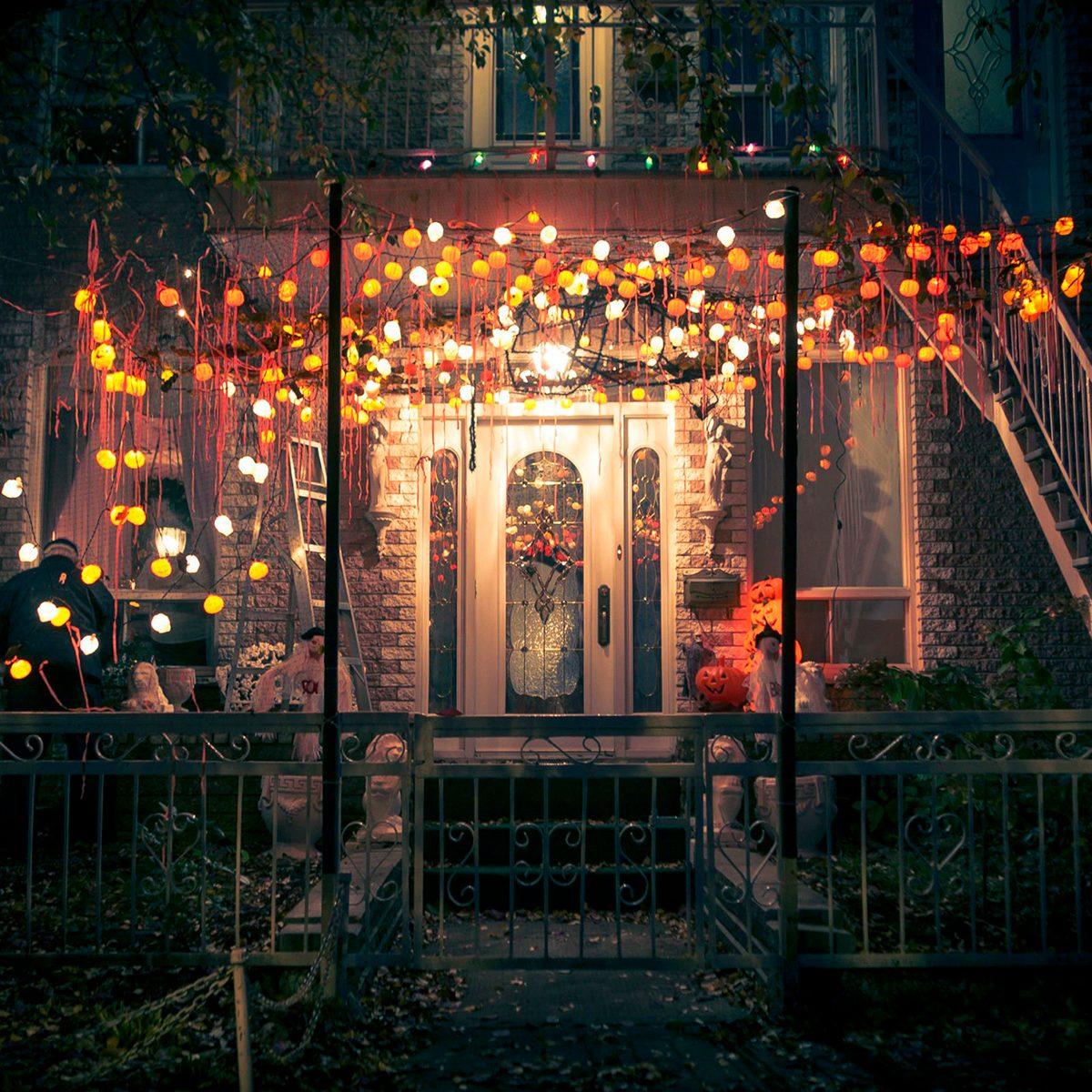 Elaborate front porch Halloween decorations