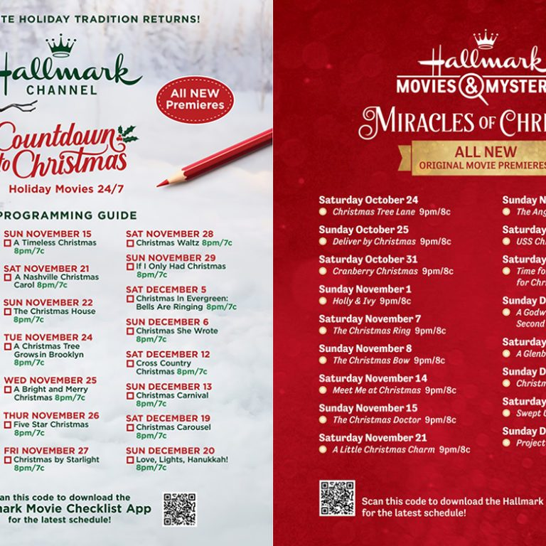 Hallmark Movie Guide - Countdown to Christmas 2020 side by side