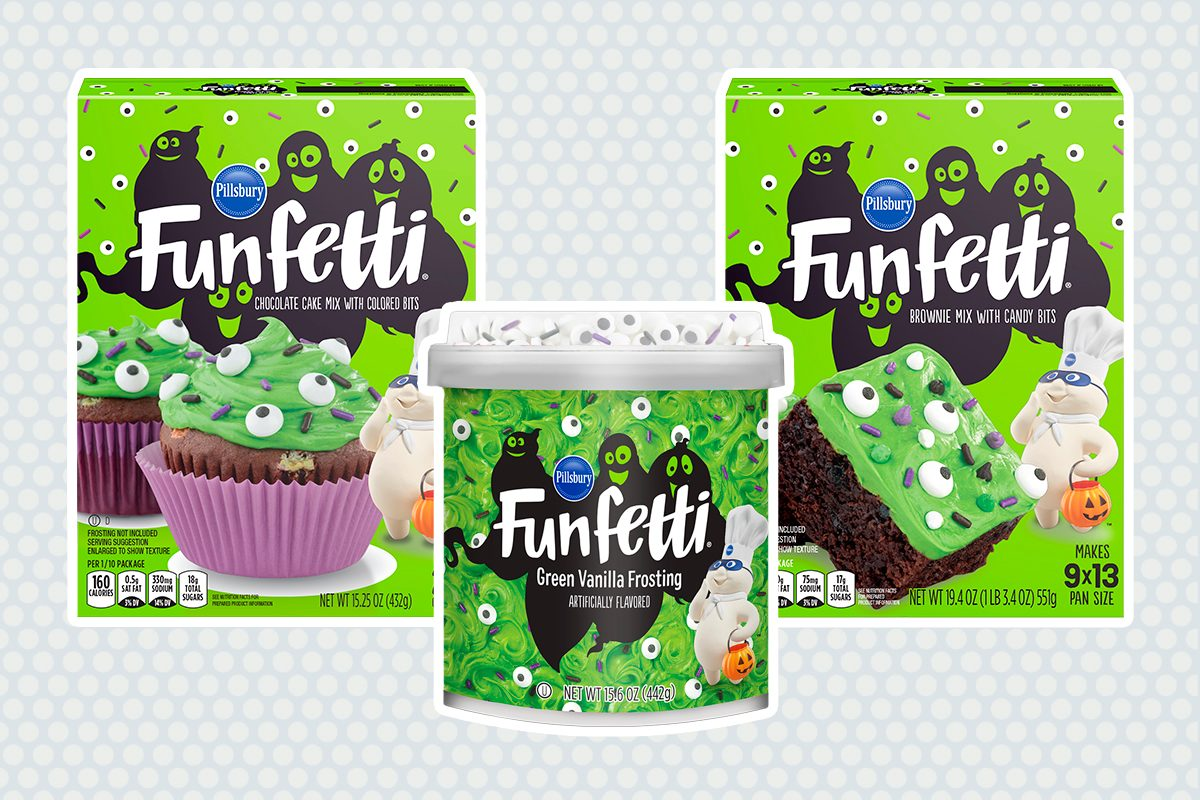 PILLSBURY FUNFETTI SLIME CAKE MIX, BROWNIE MIX, AND FROSTING