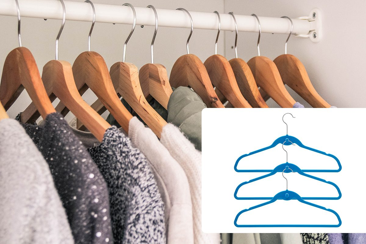 Clothes hanging in the wardrobe/BriaUSA Cascade Hangers Blue Steel Swivel Hooks -Slim, Sturdy Saves You Extra Space - Set of 10