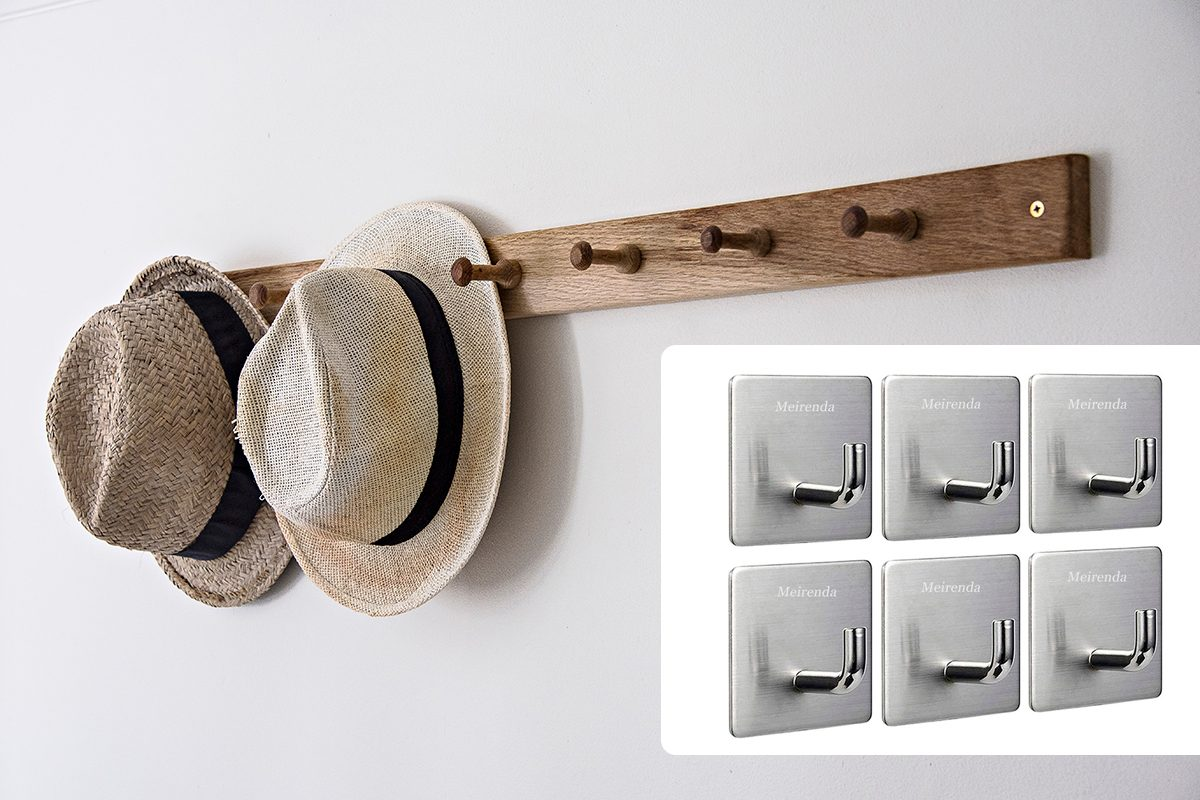Hats hanging on hook on wall in bathroom/Meirenda Self Adhesive Hooks, Removable Wall Hooks Heavy Duty Bathroom Towel Sticky Adhesive Wall Hanging Hooks for Office Home Kitchen Bags