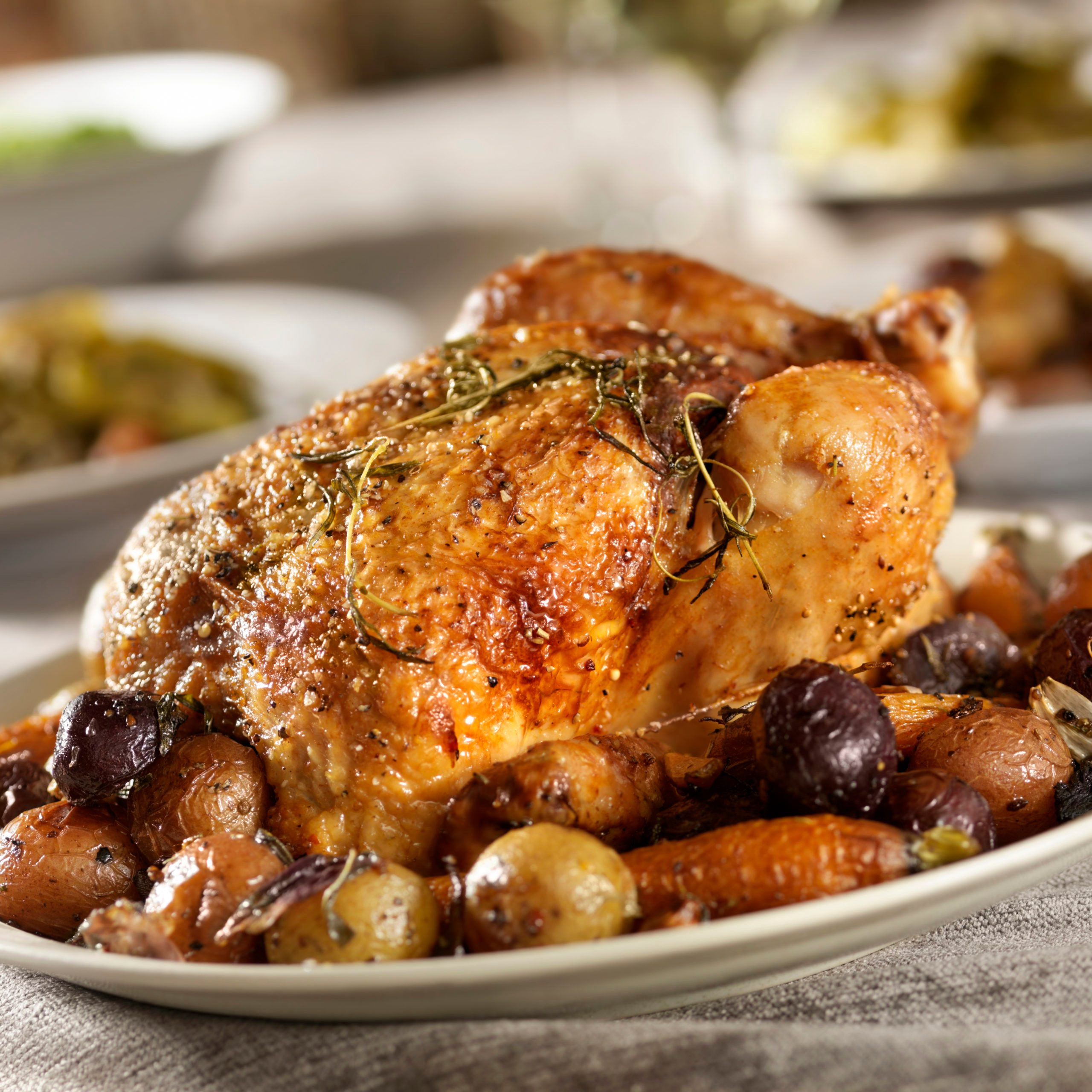 Roasted Chicken with Potatoes and Carrots with Rosemary -Photographed on Hasselblad H3D2-39mb Camera