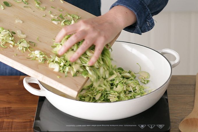 How to cook brussel sprouts: place in pan