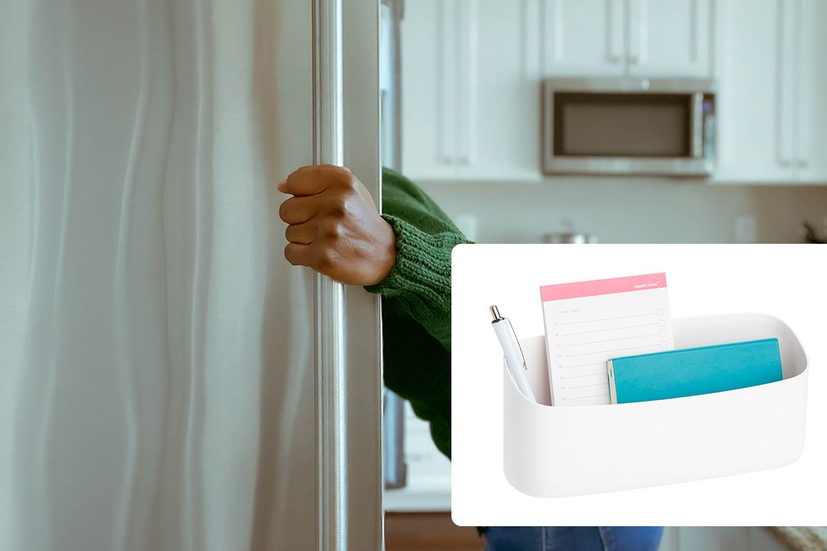 Woman Looks into Refrigerator for Healthy Snack/Perch Stumpy Magnetic Container