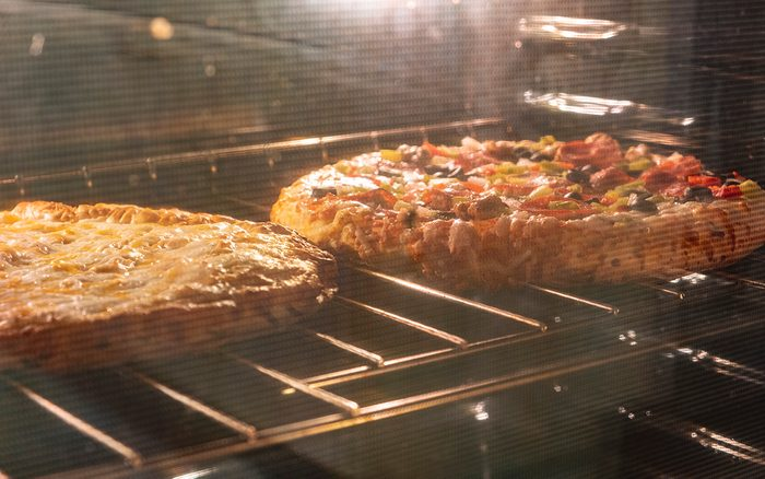 Pizza in an oven