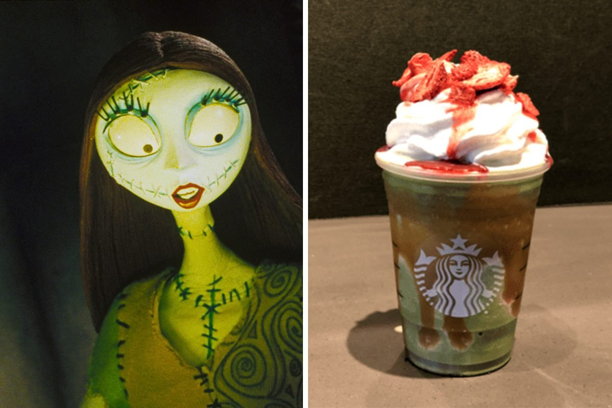 On the set of The Nightmare Before Christmas, a stop motion musical fantasy film written and produced by Tim Burton and directed by Henry Selick. (Photo by Touchstone Pictures/Sunset Boulevard/Corbis via Getty Images)/Sally inspired Frappuccino from Starbucks