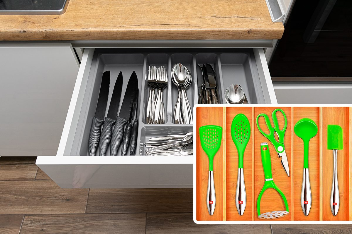 Opened kitchen drawer with Stainless steel cutlery set/Bamboo Kitchen Drawer Organizer - Expandable Silverware Organizer/Utensil Holder and Cutlery Tray with Grooved Drawer Dividers for Flatware and Kitchen Utensils (5 Slots, Natural)