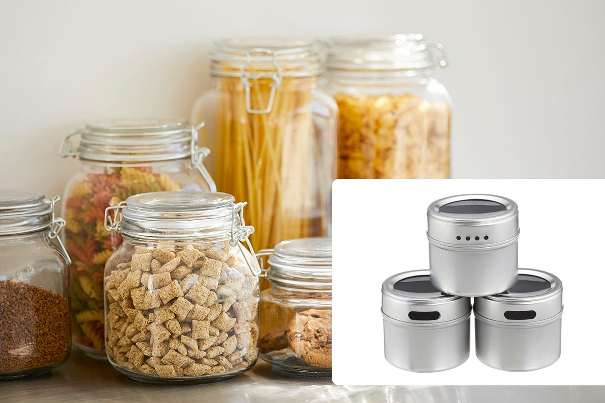 Close-up of various food in airtight jars. Groceries are seen through glass containers. Eatables are on table./Magnetic Spice Tins Pkg/3