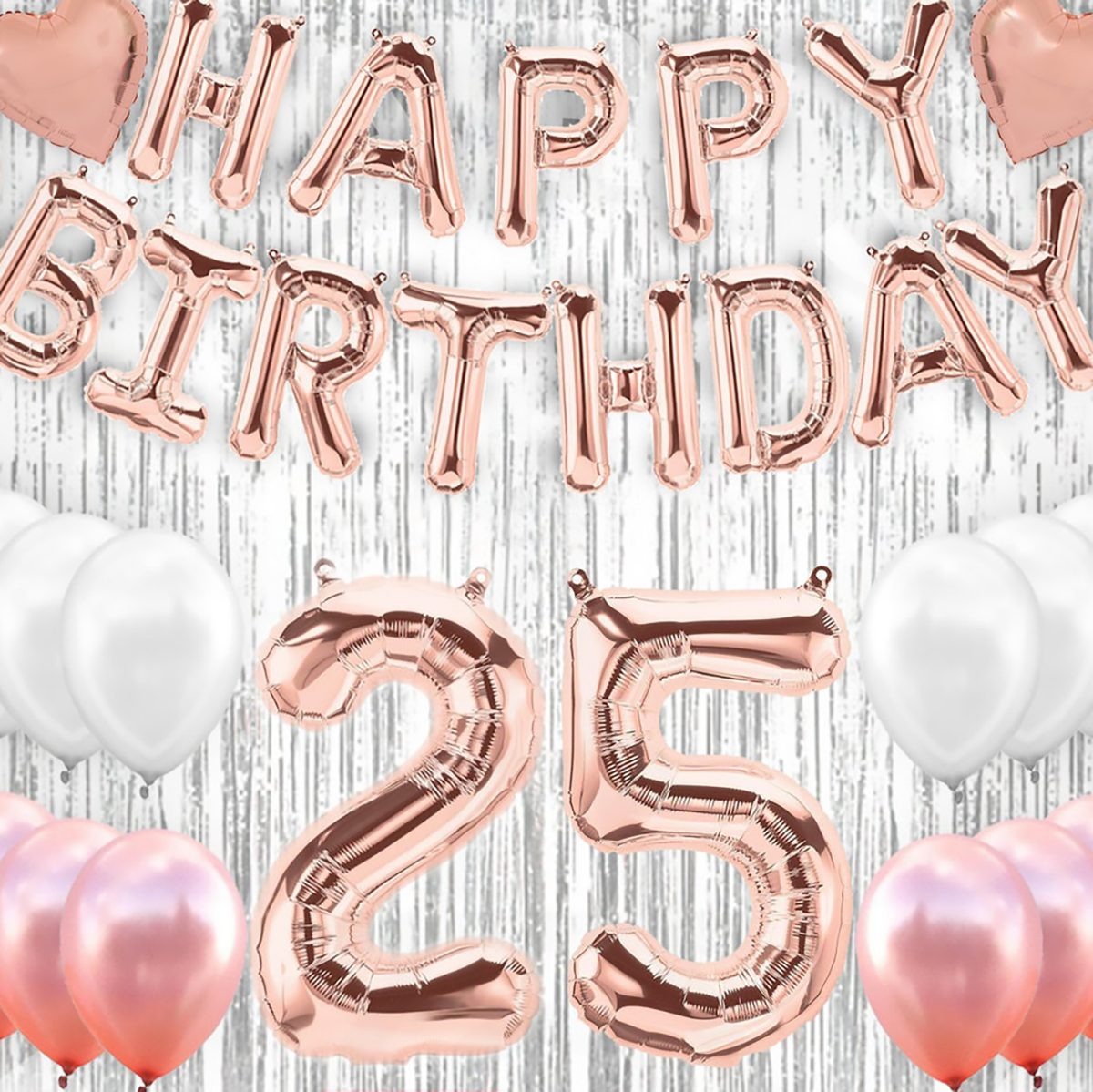 25th Birthday decorations Party supplies-25th Birthday Balloons Rose Gold,25th birthday banner,25th birthday for women props Photos
