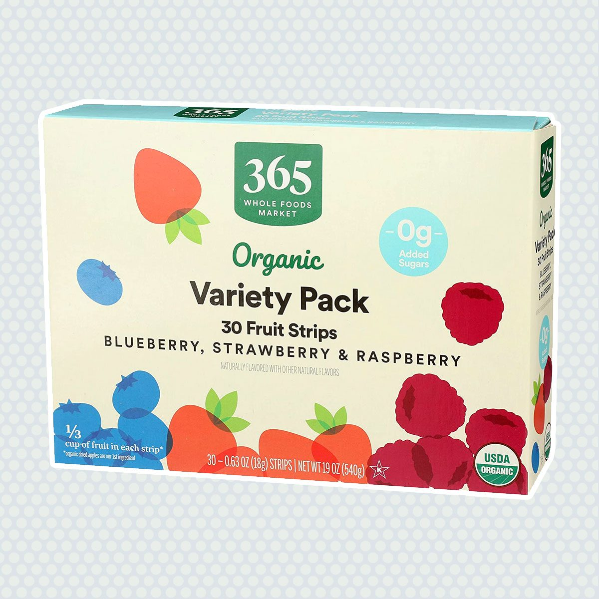 365 Everyday Value, Fruit Strip Variety Organic, 0.65 Ounce, 30 Count