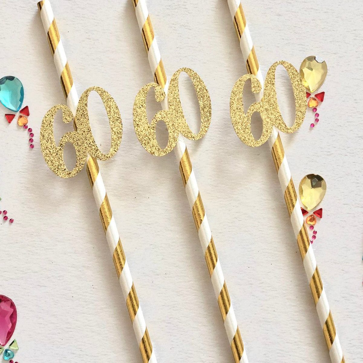 60th Birthday Straws, 60th Party Decorations, 60th Birthday Party Straws, Paper Straws