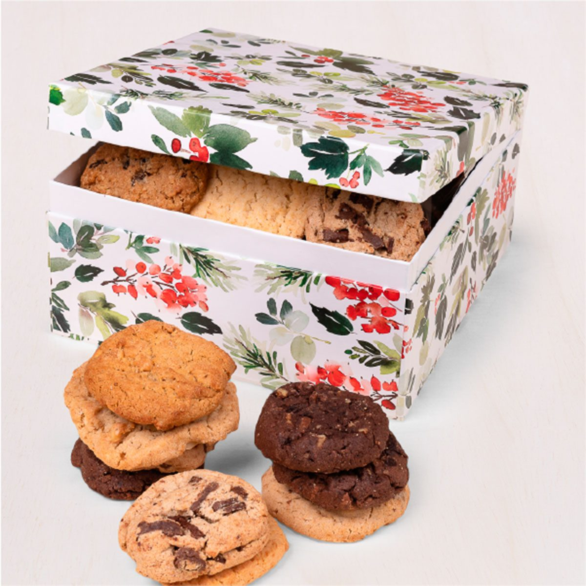 Holly Hinged Cookie Box