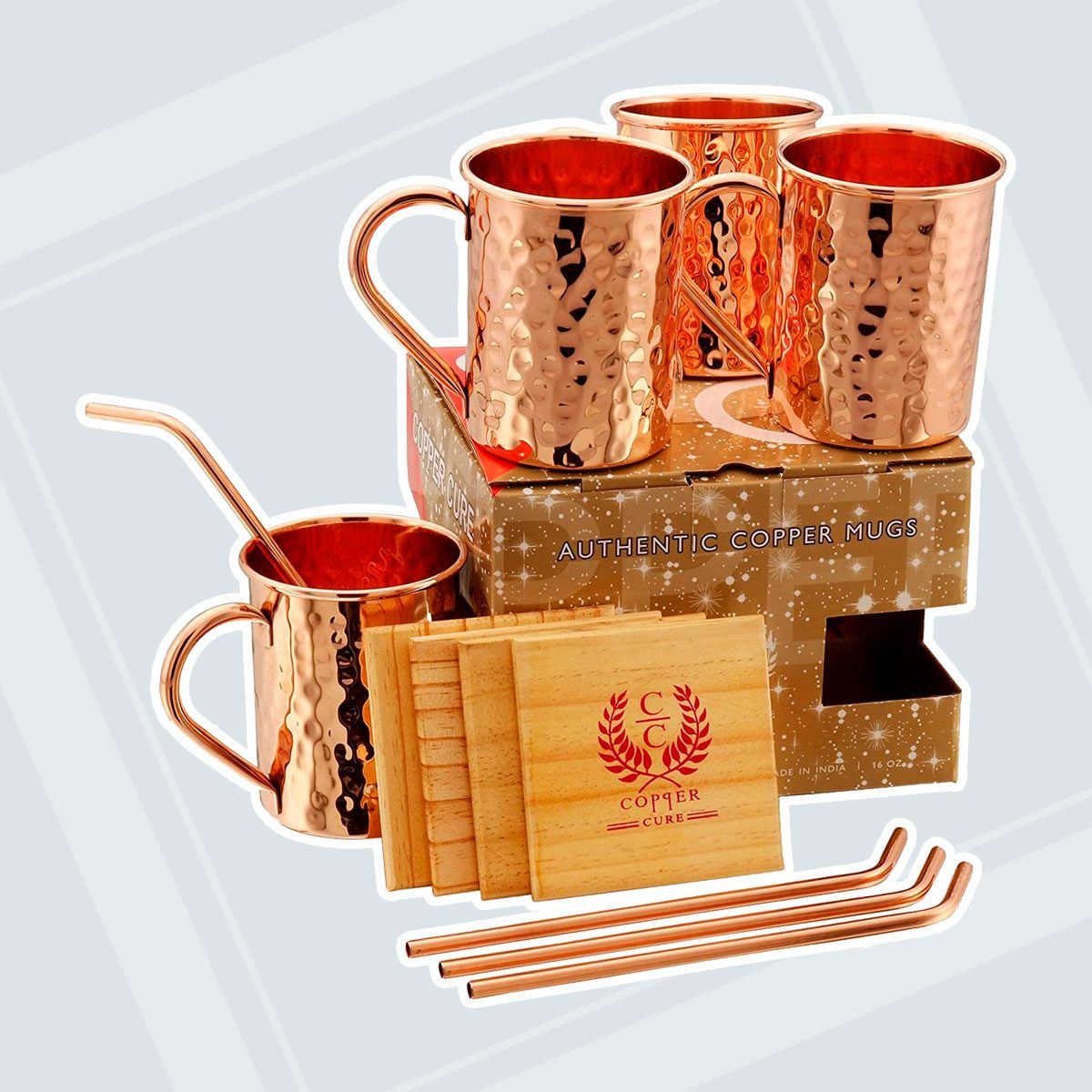 SOLID COPPER MUGS WITH COPPER STRAWS AND PINE WOOD COASTERS