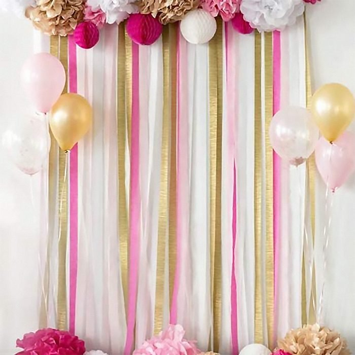 """15 Rolls 405 Yard Party Streamers Backdrop Decorations Red Green Blue White Black Gold Silver Black Crepe Paper Rainbow Streamers 1.8"""" W x 27 Yard/roll for Photo Booth Backdrop Birthday Holiday Fiesta Party Mexican Celebration"""