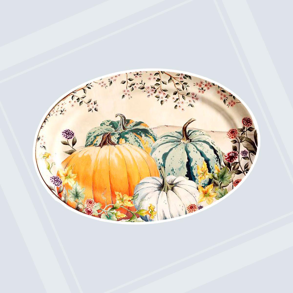 Botanical Harvest Pumpkin Stoneware Oval Serving Platter
