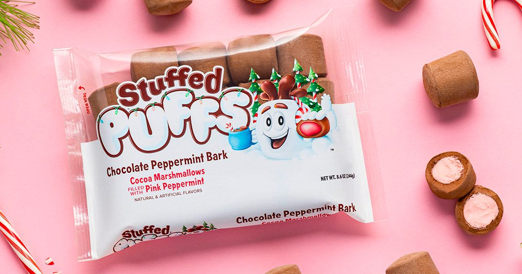 Stuffed Puffs Has a NEW Chocolate Peppermint Bark Flavor That's Perfect for the Holidays