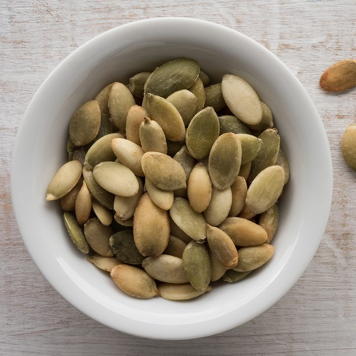 Close-Up Of Pumpkin Seeds On Table