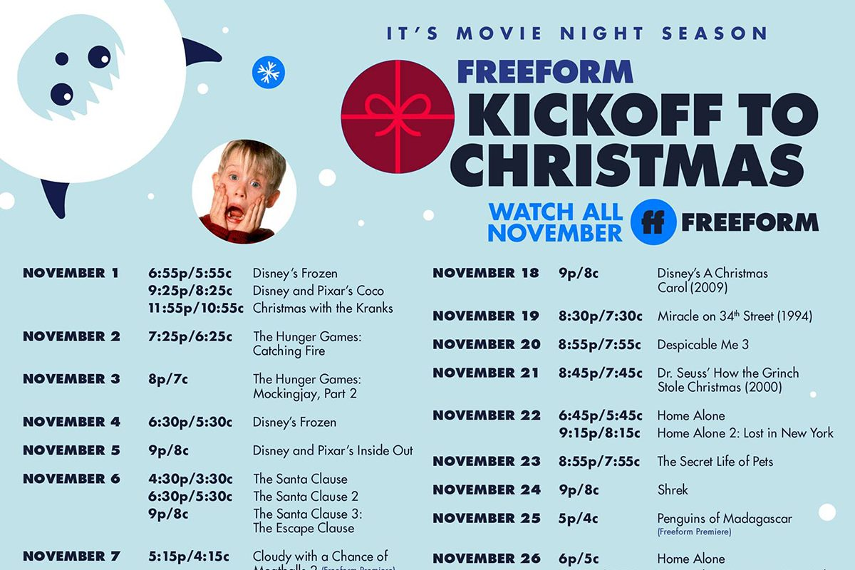 Freeform 25 Days To Christmas 2020 The Full Lineup of Freeform Christmas Movies for 2020 | Taste of Home
