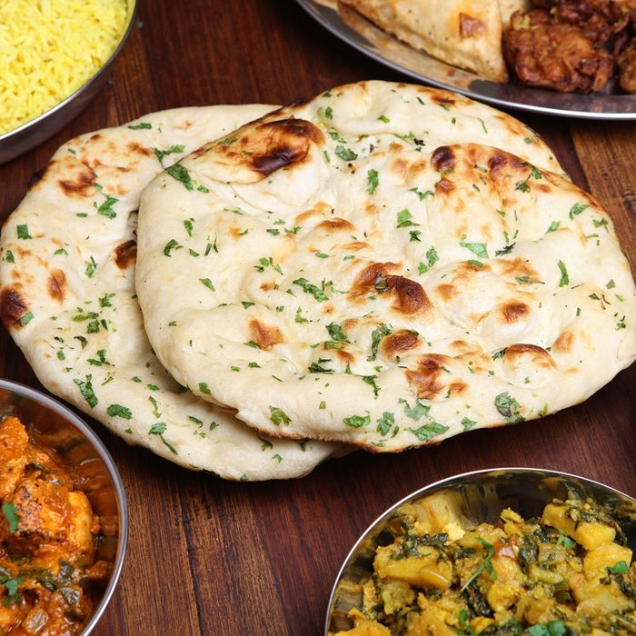 Indian naan bread with coriander
