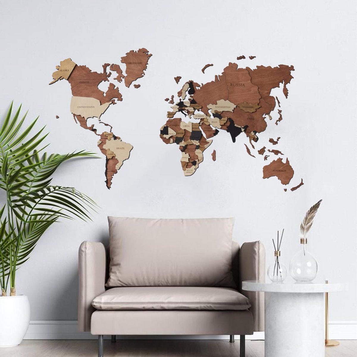 3D World Map Wood Map Wall Art