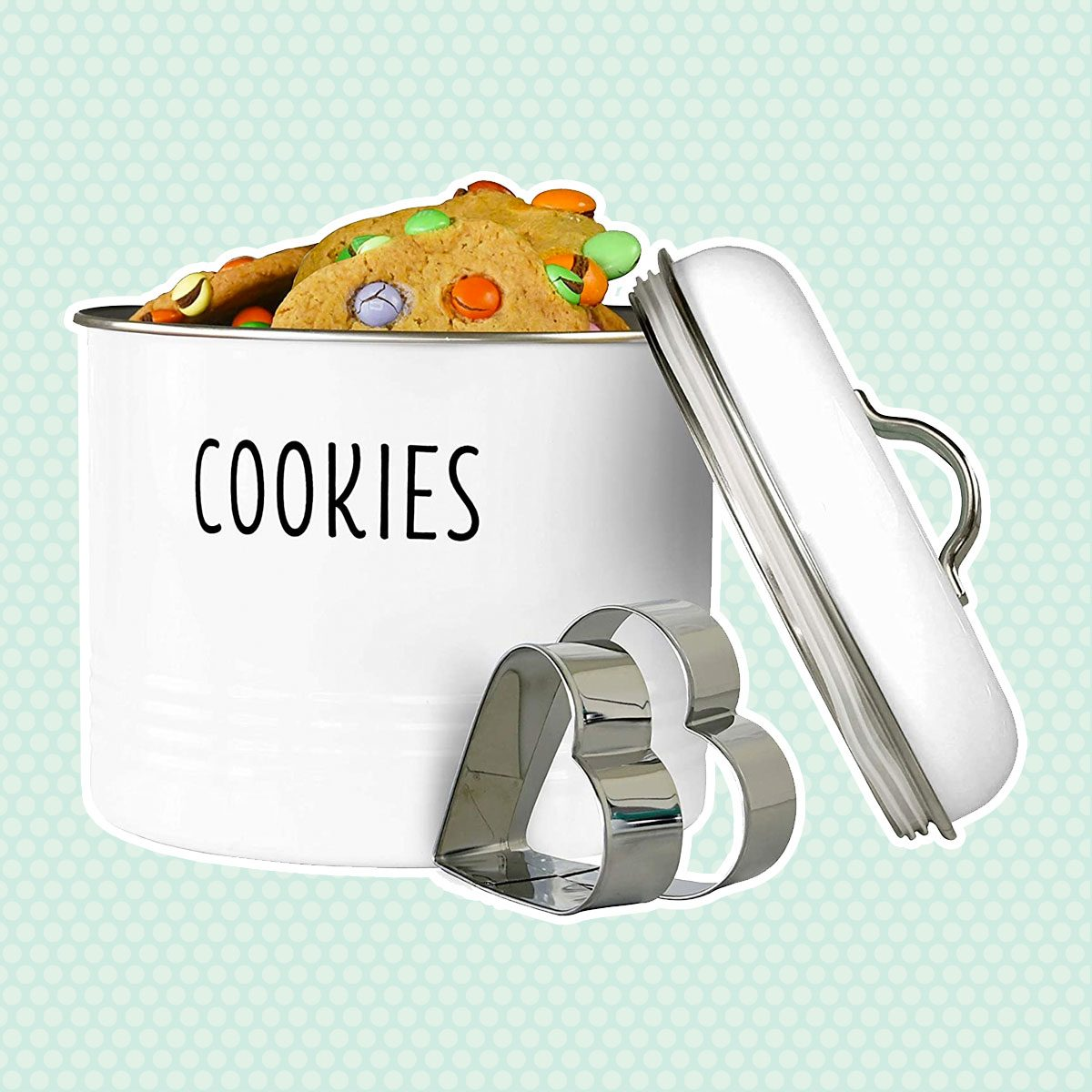 Tin Cookie Snack Jars Airtight Kitchen Food Storage Containers (White)