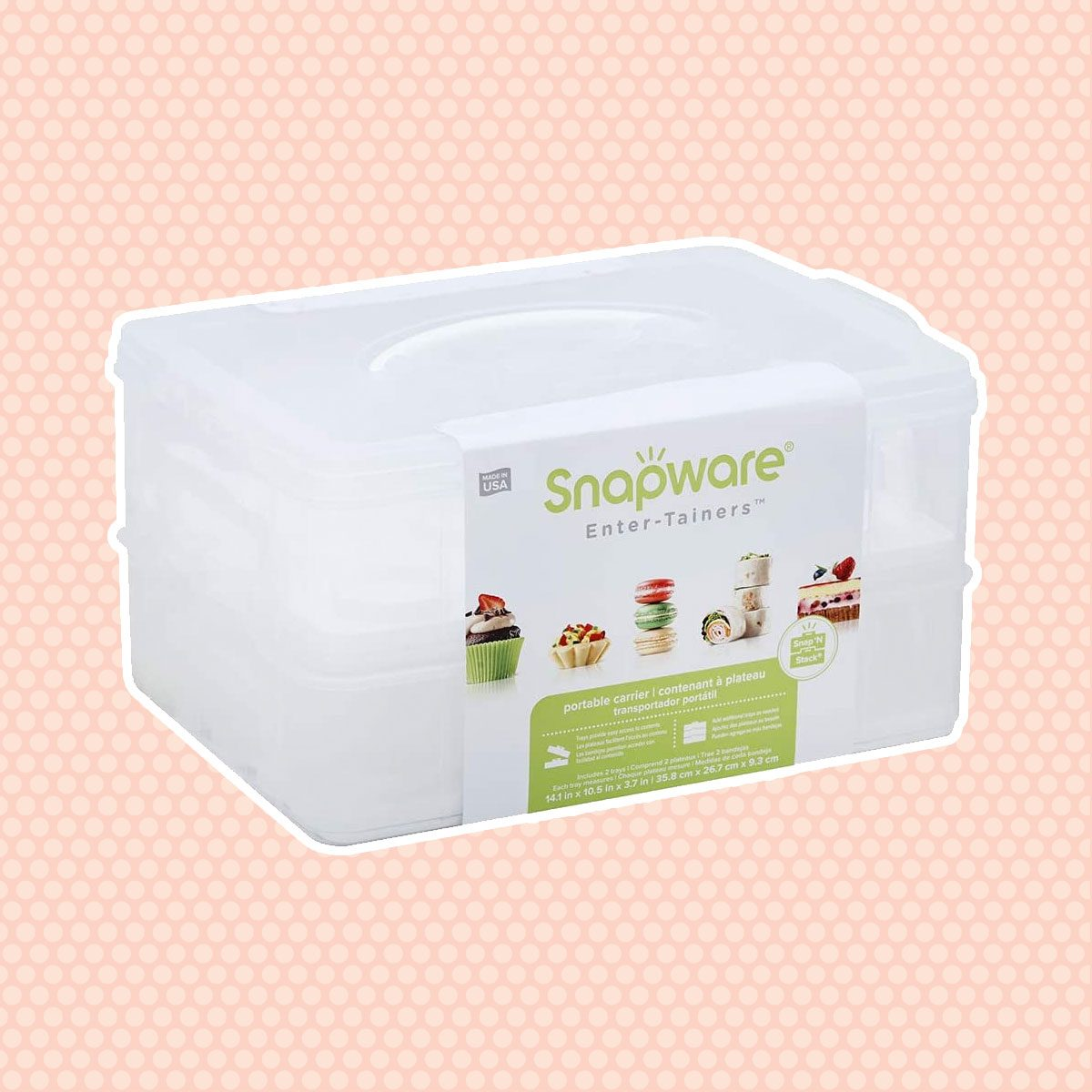 Snapware Snap 'N Stack 2-Layer Cookie, Cake, Cupcake and Brownie Storage Carrier (BPA Free Plastic, Holds Up to a Quarter-Sheet Cake)
