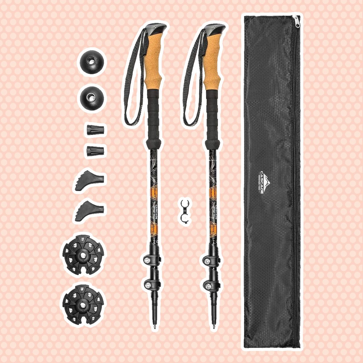 Cascade Mountain Tech Trekking Poles - Aluminum Folding Hiking Walking Sticks with Quick Adjustable Locks (Set of 2)