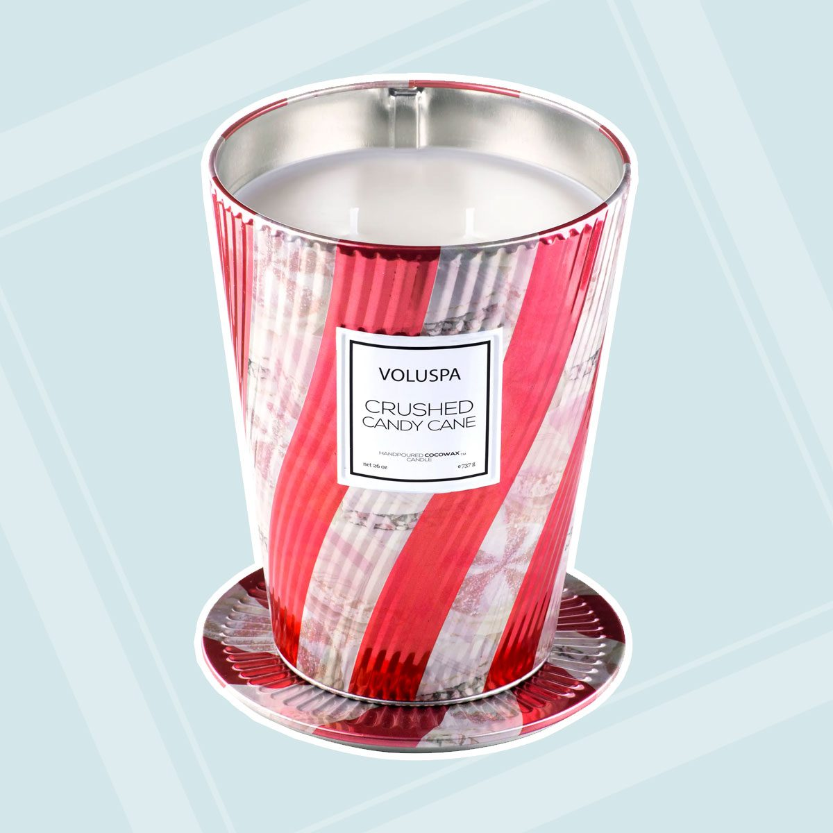 Crushed Candy Cane Giant Ice Cream Cone Table Candle
