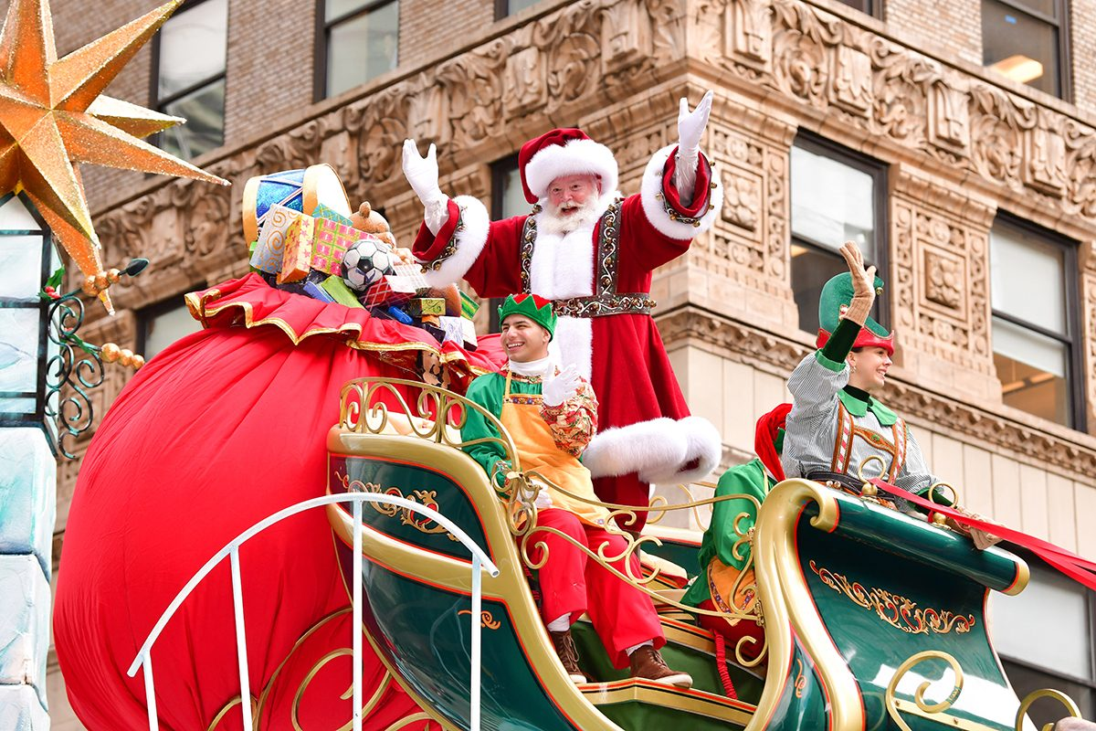 NEW YORK, NY - NOVEMBER 28: Santa Clause attends the 93rd Annual Macy's Thanksgiving Day Parade on November 28, 2019 in New York City. (Photo by James Devaney/Getty Images)