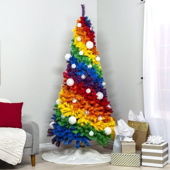 Best Choice Products 7ft Artificial Colorful Rainbow Full Fir Christmas Tree Holiday Decor w/ 1,213 Tips, Metal Stand