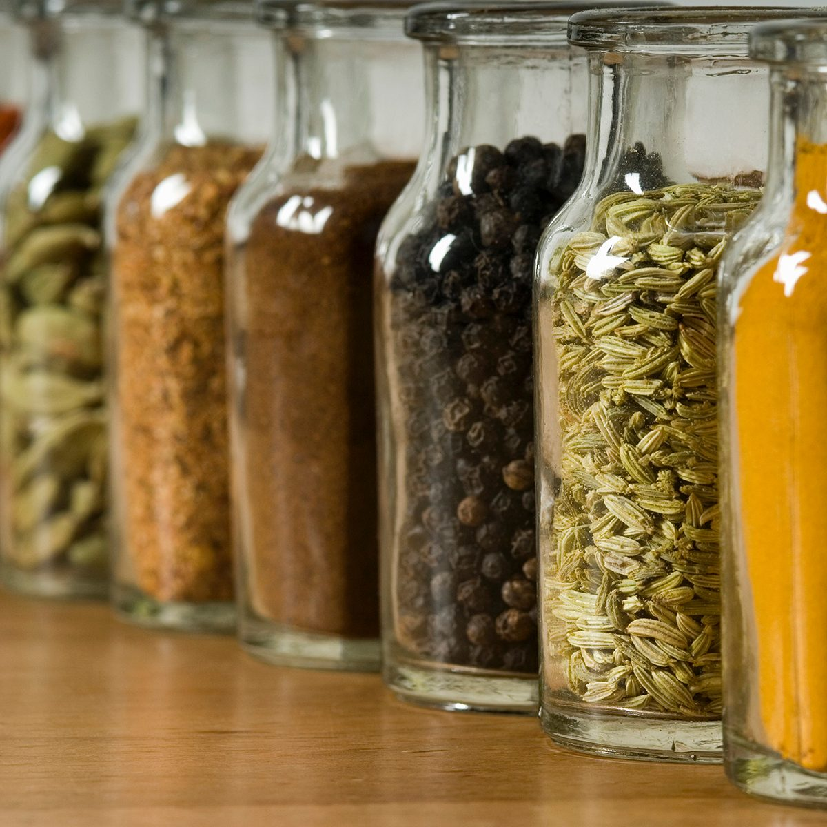Row of spice jars