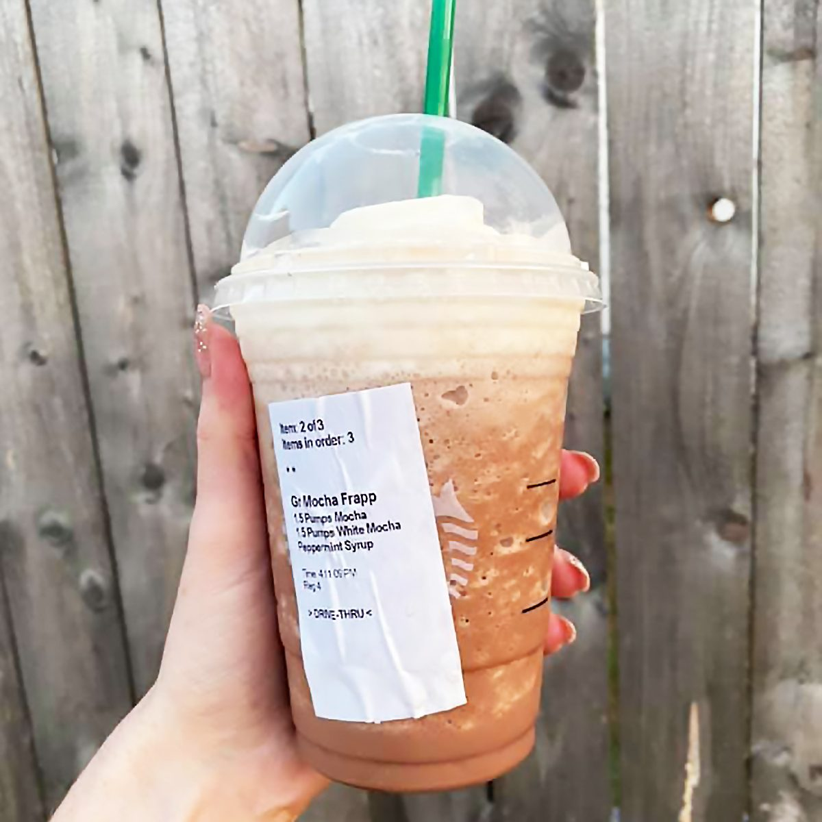 Peppermint Bark Frappuccino from Starbucks