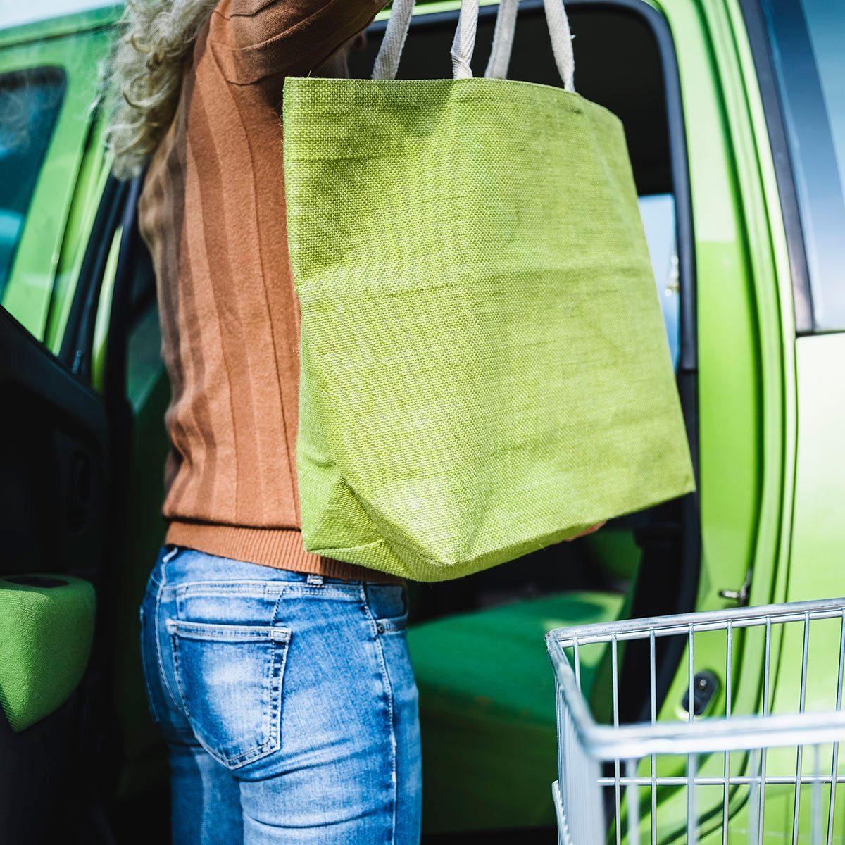 Woman using Reusable Shopping Bags uses for reusable bags