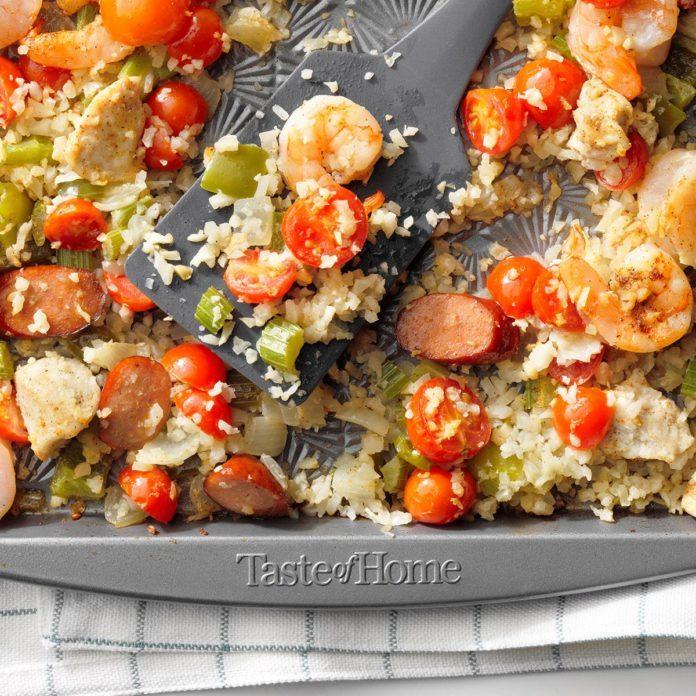 Sheet-Pan Jambalaya with Cauliflower Rice