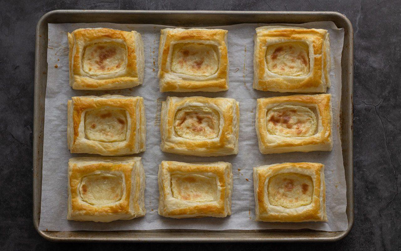 Baked cheese Danish on a baking sheet. starbucks cheese danish copycat