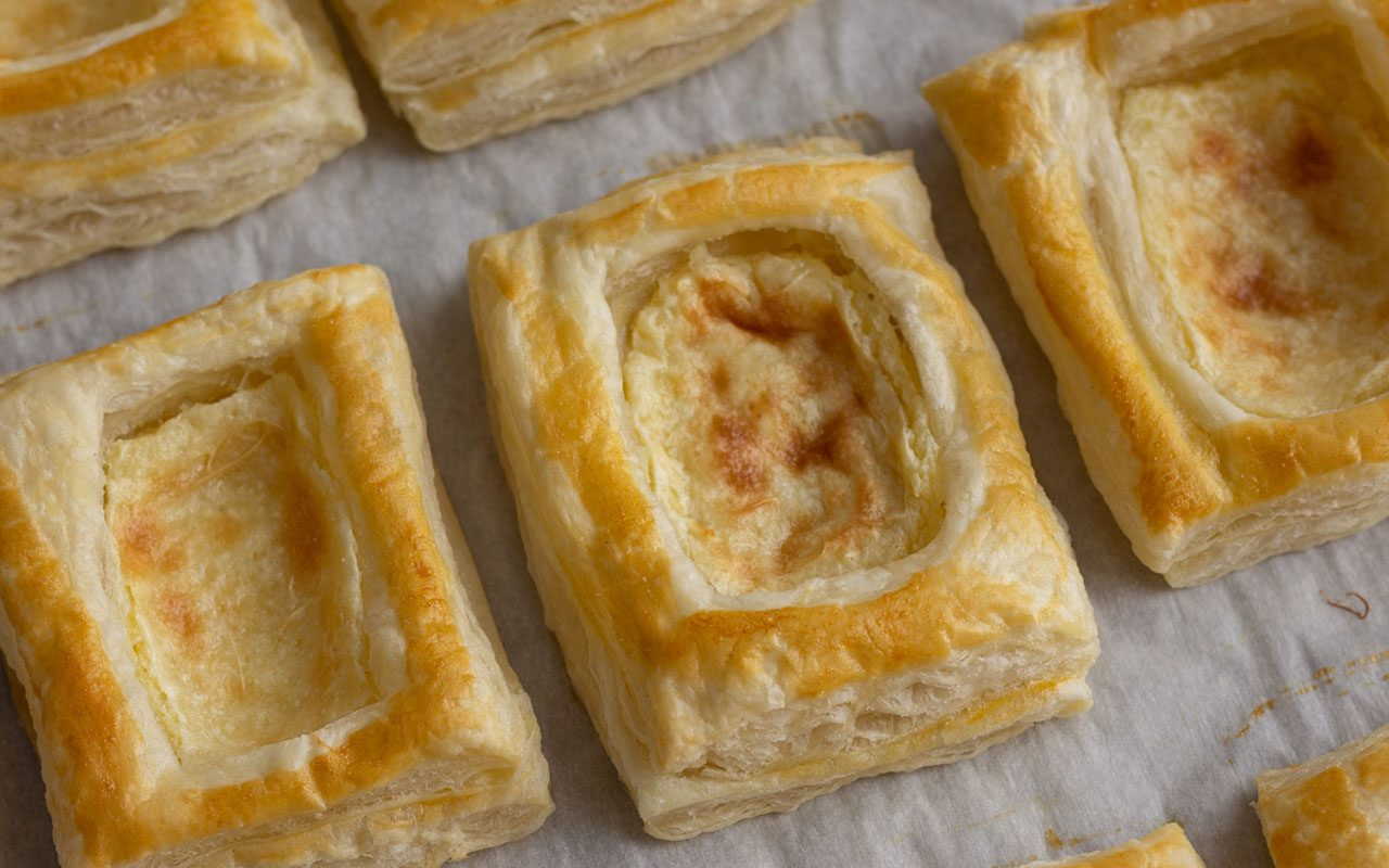 Cheese Danish on a baking sheet. starbucks cheese danish copycat