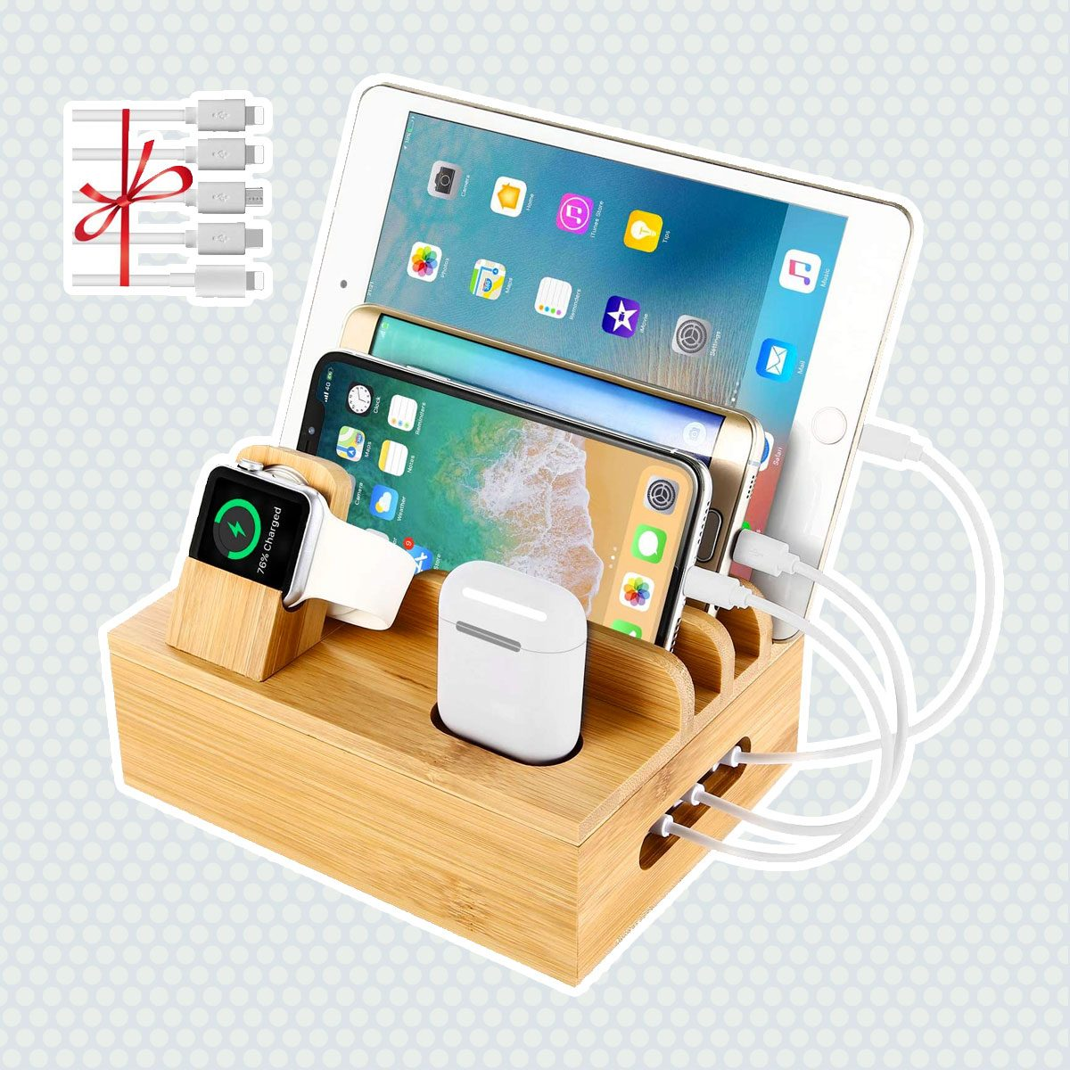 Bamboo Charging Station Dock for 4/5 / 6 Ports USB Charger