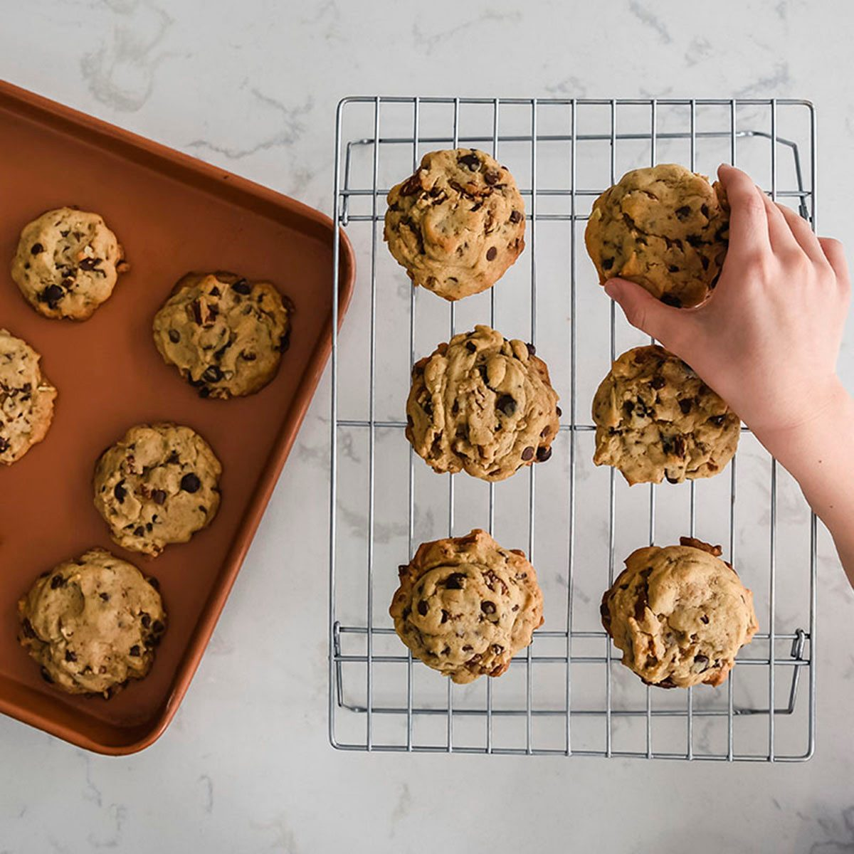 Hand of young child reaching to take a cookie off of a cooling rack